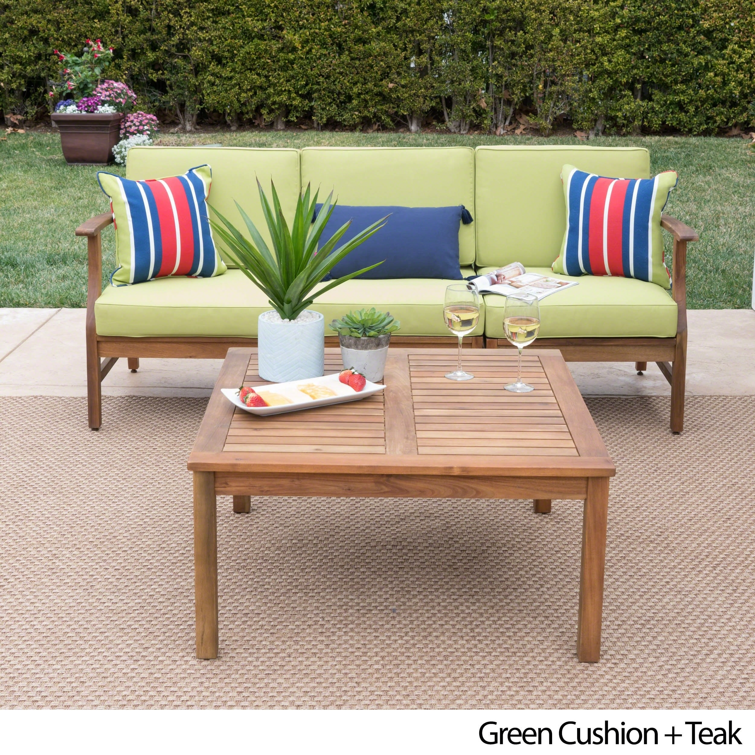 Perla Outdoor Acacia Wood 4 Piece Sofa And Table Set With Cushions By Christopher Knight Home