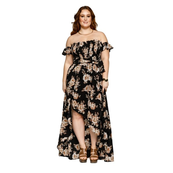 Shop Xehar Womens Plus Size Off Shoulder Flowy Floral Long Maxi ...