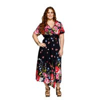 Xehar Womens Plus Size Asymmetrical Flowy Floral Wrap Long Maxi Dress