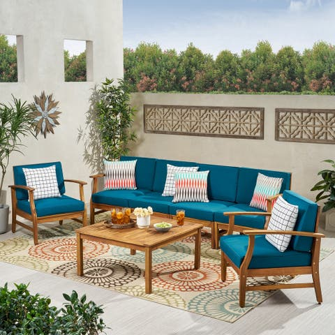 Perla Outdoor Acacia Wood 7-piece Chat Set with Cushions by Christopher Knight Home