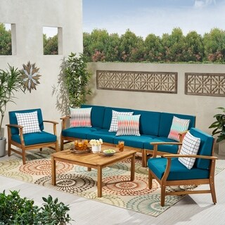 Link to Perla Outdoor Acacia Wood 7-piece Chat Set with Cushions by Christopher Knight Home Similar Items in Outdoor Loveseat