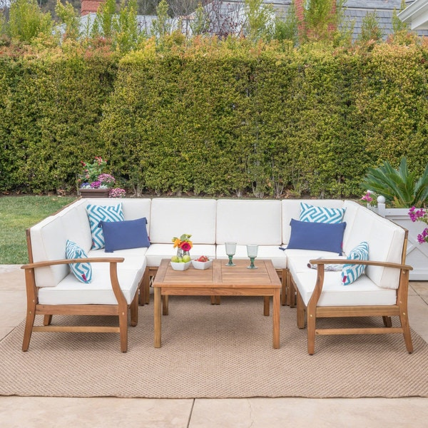 Exceptional Perla Outdoor Acacia Wood 9 Piece Sectional Sofa Set With Cushions By  Christopher Knight Home