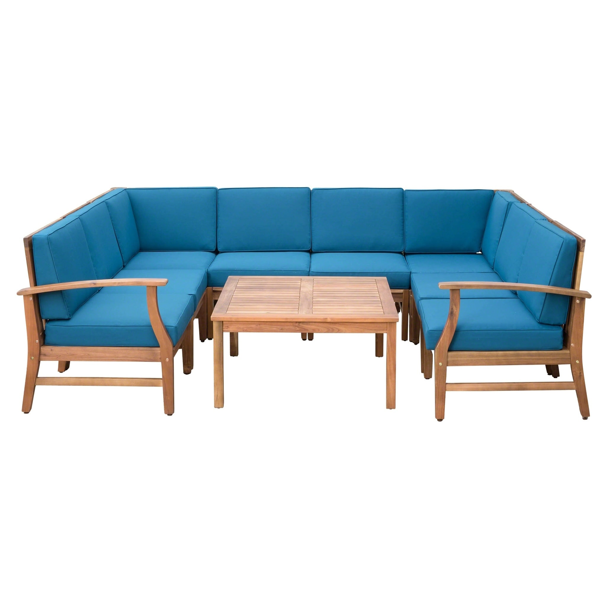 Pleasing Details About Perla Outdoor Acacia Wood 9 Piece Sectional Sofa Set With Brown 9 Piece Sets Short Links Chair Design For Home Short Linksinfo