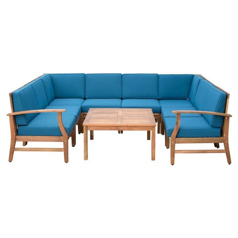 Perla Outdoor Acacia Wood 9-piece Sectional Sofa Set with Cushions by Christopher Knight Home
