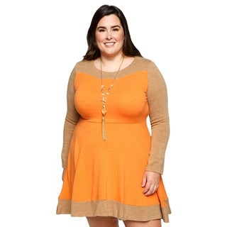 Xehar Womens Plus Size Casual Stylish Two Tone Mini Shift Dress