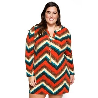 Xehar Womens Plus Size Loose Chevron Print Short Mini Shift Dress