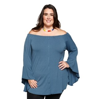 Xehar Womens Plus Size Off Shoulder Button Down Tunic Blouse Top