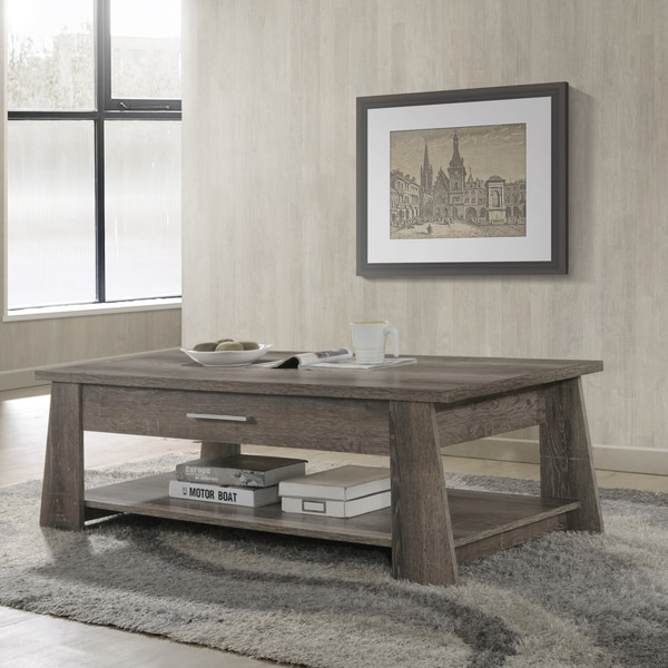 Taupe Wicker Coffee Table: Shop Furniture Of America Ren Rustic Dark Taupe 2-drawer