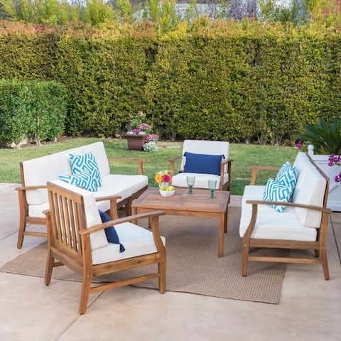 Perla Outdoor Acacia Wood 9-piece Sofa Set with Cushions by Christopher Knight Home