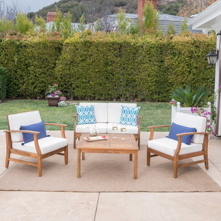 Perla Outdoor Acacia Wood 5-piece Chat Set with Cushions by Christopher Knight Home