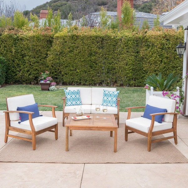 Perla Acacia Wood 5-piece Chat Set with Cushions by Christopher Knight Home. Opens flyout.