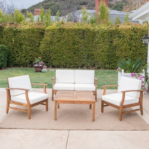 Perla Acacia Wood 5-piece Chat Set with Cushions by Christopher Knight Home