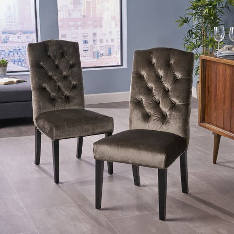 Nickolai Crown Top Velvet Dining Chair (Set of 2) by Christopher Knight Home