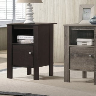 Furniture of America Nen Contemporary Solid Wood Storage Side Table