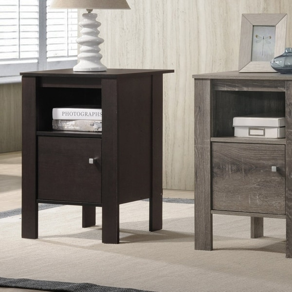 Furniture of America Nen Contemporary Solid Wood Storage Side Table. Opens flyout.