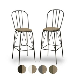 "Furniture of America Jack Modern Farmhouse Bar Chairs (Set of 2) - W18-1/2*21-1/2*44""H"