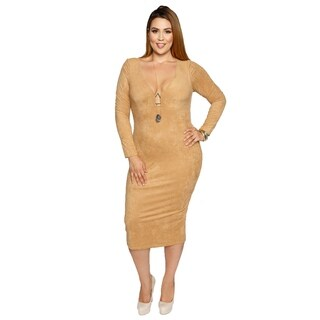 Xehar Womens Plus Size Plunging Curvy Long Sleeve Bodycon Dress