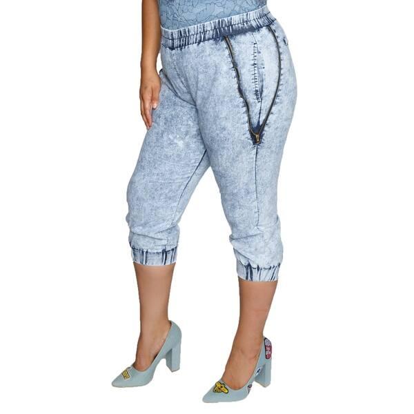 Shop Xehar Womens Plus Size Zig Zag Acid Wash Zipper Jogger ...