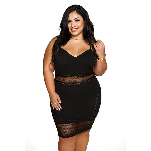 5a7edfc6588 Shop Xehar Womens Plus Size Sexy Illusion Eyelet Lace Bodycon Dress ...