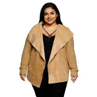 Xehar Womens Plus Size Fuzzy Collar Open Front Cardigan Sweater