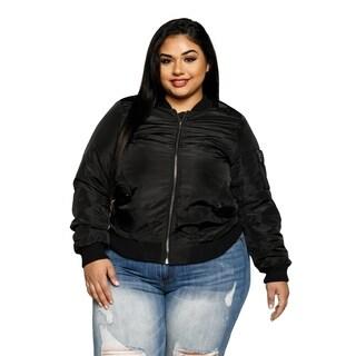 Xehar Womens Plus Size Classic Lightweight Zip Up Bomber Jacket