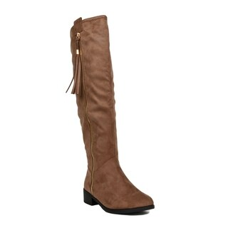 Xehar Womens Fashion Zipper Tassel Detail Faux Suede Knee High Boots