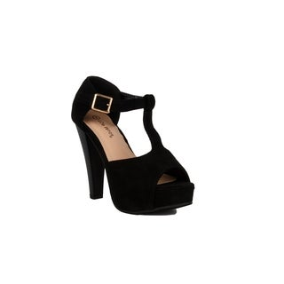 Xehar Womens T-Strap Wedge Heel Dress Sandal