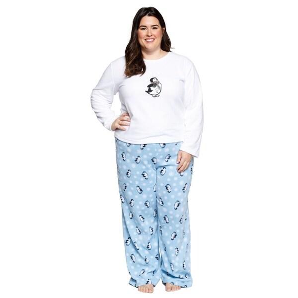 dc683d71b Shop Xehar Womens Plus Size Fleece Penguins Pajamas Pjs Set (2 Piece ...