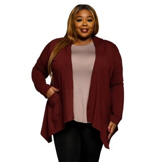 Xehar Women's Plus Size Hoodie Hi-Lo Front Cardigan Sweater