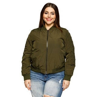 Xehar Womens Plus Size Grommet Lace Up Short Cropped Bomber Jacket