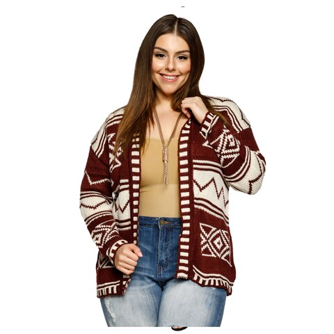 Xehar Womens Plus Size Open Front Mixed Pattern Knit Cardigan Sweater