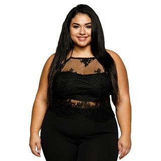 Xehar Womens Plus Size Sexy Illusion Mesh Crochet Lace Halter Crop Top