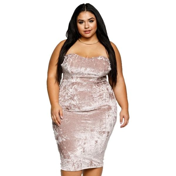 e1915b43147 Shop Xehar Womens Plus Size Sexy Crushed Velvet Strapless Bodycon ...