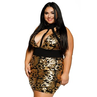 Xehar Womens Plus Size Sexy V-Neck CutOut Sequin Bodycon Evening Dress (3 options available)