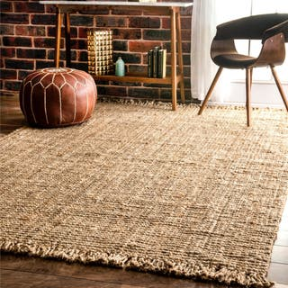 Havenside Home Caladesi Handmade Braided Natural Jute Reversible Area Rug 7 6 X 9