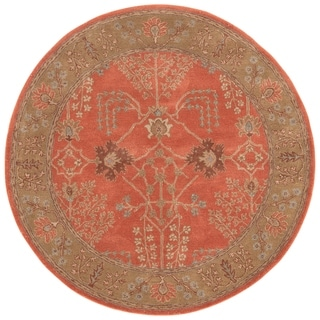 The Curated Nomad Miramonte Handmade Floral Orange/ Brown area Rug - 10'x10' Round - 10' x 10' Round