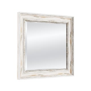 The Gray Barn Wilset Square White Wash Wall Mirror, 25 x 25 - 25.12 x 25.12 x 1.971 inches deep