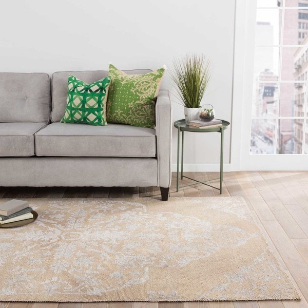 Copper Grove Thunbergia Hand-knotted Medallion Beige/ Silver Area Rug - 9' x 13'