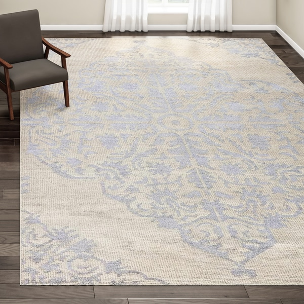 Maison Rouge Barton Hand-knotted Medallion Silver/Ivory Area Rug - 9' x 13'
