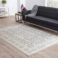 Maison Rouge Antonin Damask Grey/ White area Rug