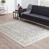 Copper Grove Uinta Damask Grey/ White area Rug - 7'6 x 9'6