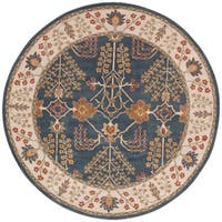 The Curated Nomad Corsica Handmade Floral Blue/ Multicolor area Rug - 8' x 8' Round