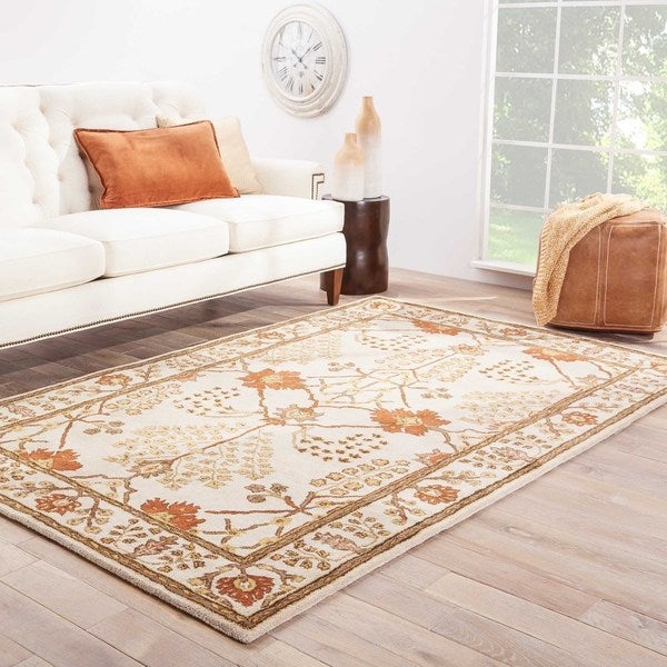 Copper Grove Orchid Handmade Floral White/ Red area Rug - 8' x 10'