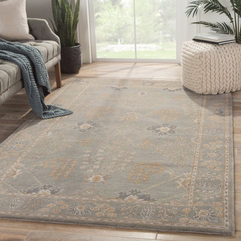 "Copper Grove Kesagami Handmade Floral Grey/ Tan area Rug - 8'10""x11'9"""