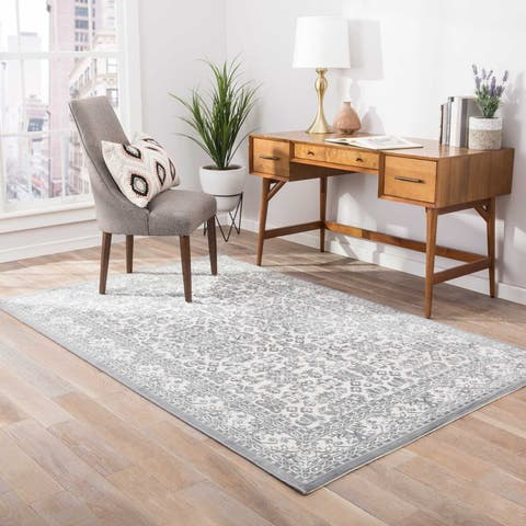 """The Curated Nomad Blueberry Butte Damask Grey/ Silver area Rug - 7'6"""" x 9'6"""""""