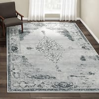 The Gray Barn Fron Holding Traditional Vintage Abstract Light Grey Rug - 7'10 x 11'