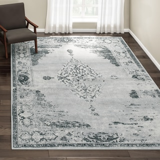 The Gray Barn Fron Holding Traditional Vintage Abstract Light Grey Rug