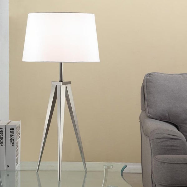 Strick & Bolton Miles 30-inch Brushed Steel Tripod Table Lamp