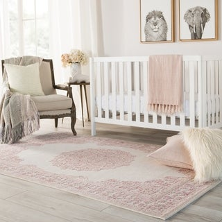 """Copper Grove Pascal Medallion Pink/ White Area Rug - 7'6"""" x 9'6"""""""