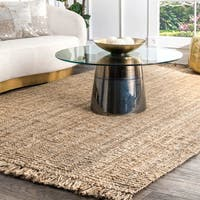 Strick & Bolton Sylvie Handmade Braided Grey Jute Reversible Runner Rug - 2'6 x 8'